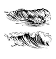 waves brush ink sketch handdrawn serigraphy print vector image