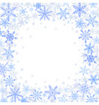 winter frame of blue snowflakes on white vector image vector image