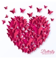 beautiful colorful butterfly heart on valintines vector image