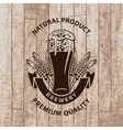 beer glass on wooden boards vector image vector image