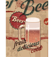 beer vintage style poster with a beer mug vector image vector image