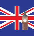 big ben with united kingdom flag background vector image
