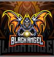 black angel esport mascot logo design vector image vector image