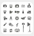 Camera icons and Camera Accessories icons set vector image vector image