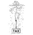 cartoon of man or businessman drowning with tax vector image vector image
