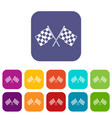 checkered racing flags icons set vector image vector image