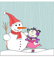 christmas winter snowman and little girl vector image