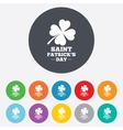 Clover with four leaves sign St Patrick symbol vector image vector image