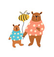 colorful funny parent and child bear in sweater vector image