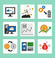 cryptocurrency cloud mining icons set vector image vector image