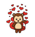 cute monkey hearts valentines day vector image