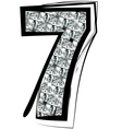 Diamond Font number 7 vector image