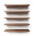 empty wooden shelves on white wall vector image vector image