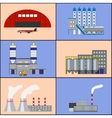 Factory buildings and power plants icons Flat vector image