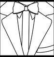 figure elegant suit with tie bow icon vector image vector image