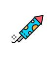firecracker firework rocket flat color line icon vector image vector image