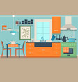 flat modern kitchen interior design with city view vector image vector image