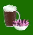 flat shading style icon beer and nuts vector image vector image