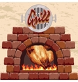 Grilled chicken in the fireplace vector image