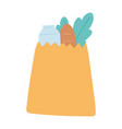 grocery bag with milk bread and lettuce isolated vector image