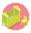 Isolated Children cradle and chair vector image