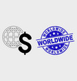 line global business icon and grunge vector image vector image