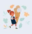 little girls eating big sweet vector image vector image