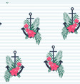 marine seamless pattern with an anchor and flowers