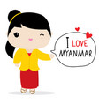 myanmar women national dress cartoon vector image vector image