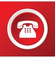 Old phone icon on red vector image vector image