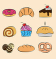 pastries and desserts collection set vector image