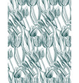 pattern plant engrave ink tulips sketch vector image