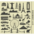 set icons of the city landmark world vector image vector image