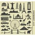 set icons of the city landmark world vector image