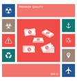 set of money banknotes stack icon elements for vector image