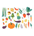 set with hand drawn colorful doodle vegetables vector image vector image