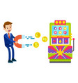 slot machine man with magnet pulling money vector image