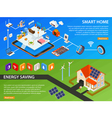 Smart Home 2 Isometric Banners Design vector image vector image