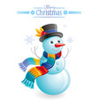snowman christmas card cartoon snow man in hat vector image