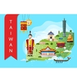 Taiwan travel concept with famous attractions vector image vector image