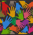 teamwork hands seamless pattern in black vector image vector image