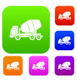 truck concrete mixer set color collection vector image vector image