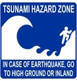 tsunami hazard zone sign vector image vector image