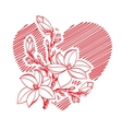 valentine card with heart and blossom branch vector image