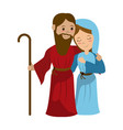 virgin mary and joseph cartoon vector image vector image