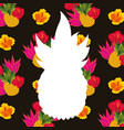 white silhouette pineapple tropical flowers vector image