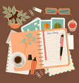 workplace with a personal diary personal planning vector image vector image