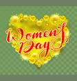 yellow mimosa flowers heart shape and womens day vector image vector image