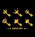 cartoon golden key with crown vector image