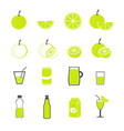 lemon and juice icons set vector image